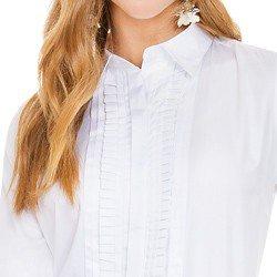camisa social feminina com drapeados branca principessa benita drapeados