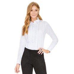 camisa social feminina com drapeados branca principessa benita geral