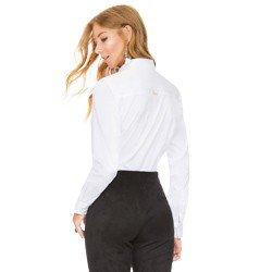 camisa social feminina com drapeados branca principessa benita modelagem