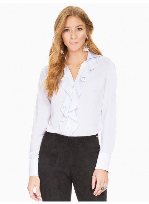 camisa com babados branca principessa helena frente
