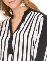 blusa listrada preto e branco principessa elizete frente detalhes