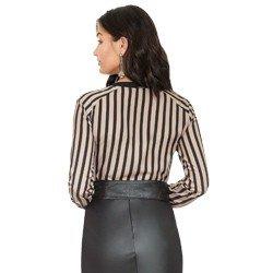 camisa listrada nude e preto rpincipessa olana modelagem