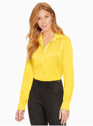 f71da4aba0 camisa social de cetim amarelo principessa talita frente
