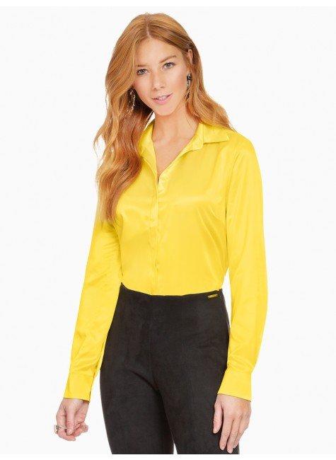camisa social de cetim amarelo principessa talita frente