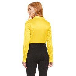 camisa social de cetim amarelo principessa talita modelagem