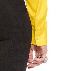 camisa social de cetim amarelo principessa talita botoes