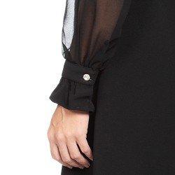 vestido transpassado preto com mangas transparentes principessa cintia detalhes