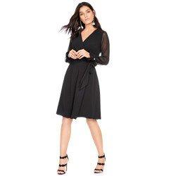 vestido transpassado preto com mangas transparentes principessa cintia geral