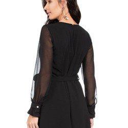 vestido transpassado preto com mangas transparentes principessa cintia tecido corte
