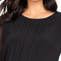 blusa preta com mangas em chiffon principessa tamara detalhes