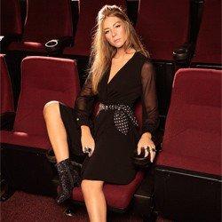 vestido transpassado preto principessa cintia