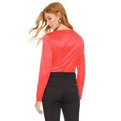 blusa feminina de cetim laranja principessa jenifer modelagem