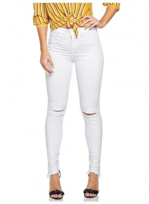 calca jeans skinny branca com rasgo no joelho denim zero dz 2694 12