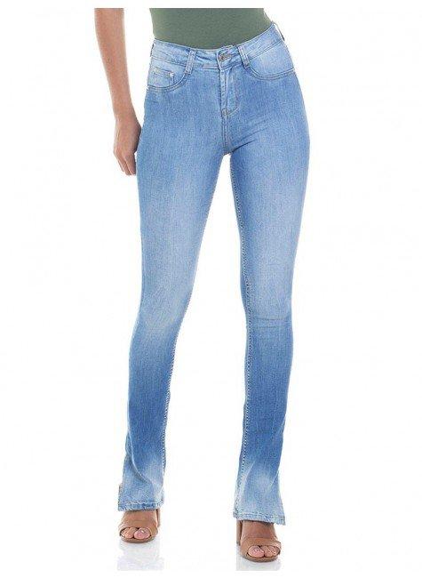 calca jeans feminina estonada boot cut denim zero dz 2814 frente