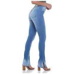 calca jeans feminina estonada boot cut denim zero dz 2814 geral