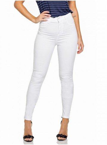 calca jeans branca skinny cintura alta denim zero dz2695 12
