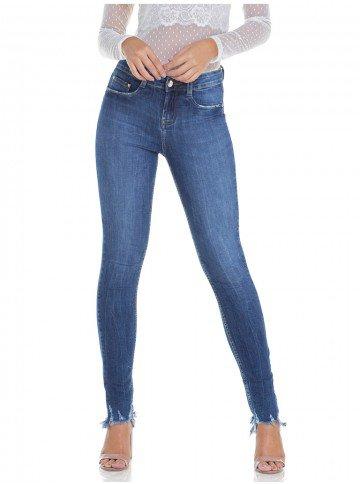 calca jeans feminina estonada com puidos denim zero dz2932 frente