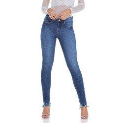 calca jeans feminina estonada com puidos denim zero dz2932 geral