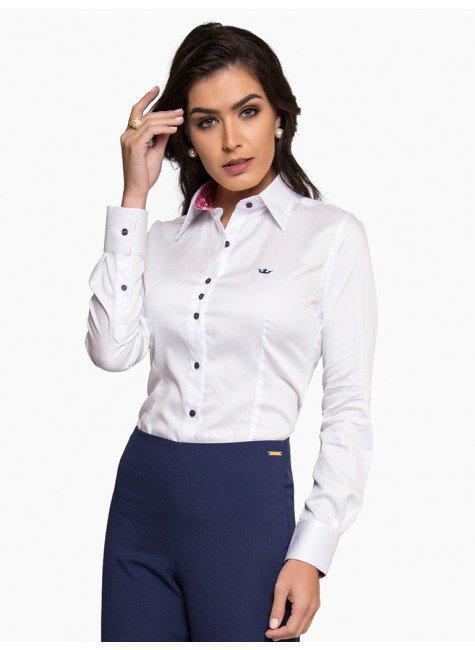 camisa social feminina em fio egipcio principessa nalva frente com fundo certo