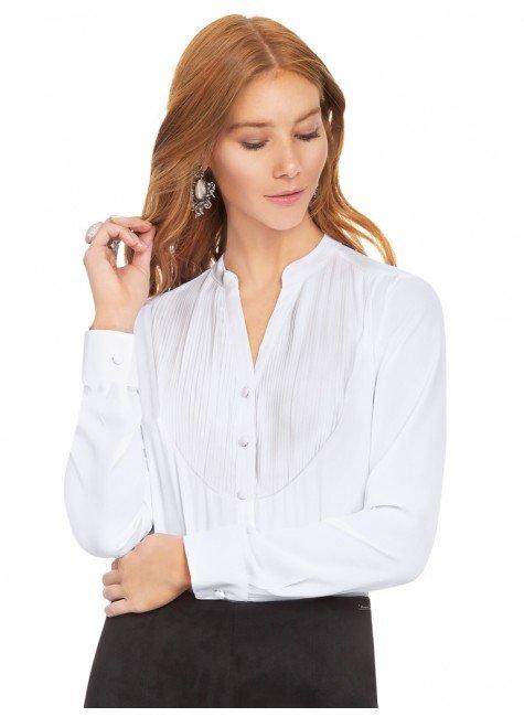 camisa branca com plissados principessa emilia frente 2