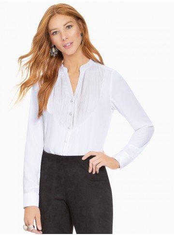 camisa branca com plissados principessa emilia frente com fundo