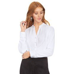 camisa branca com plissados principessa emilia tecido