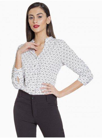 Camisa Social Feminina Geométrica