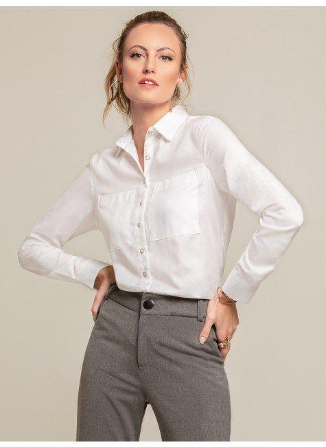 camisa social branca bolsos lenna