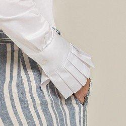 camisa social branca drapeados camile detalhes