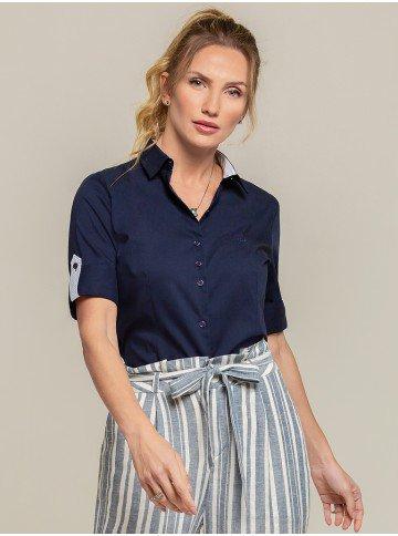 camisa 3 4 marinho priscila