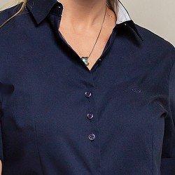 camisa 3 4 marinho priscila costas detalhes