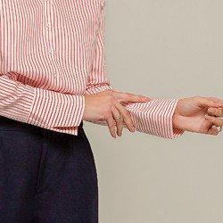 camisa listrada punho gode valentina detalhe punho