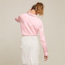 camisa social rosa blanca modelagem