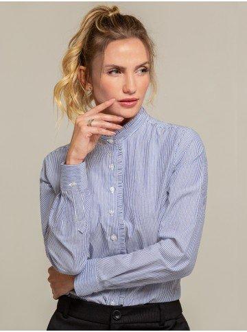 camisa listrada com pregas blaire frente