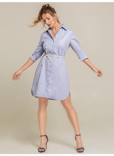 vestido oxford azul charlote botao frente