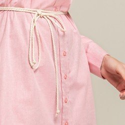 vestido oxford rosa morgana botao aviamentos