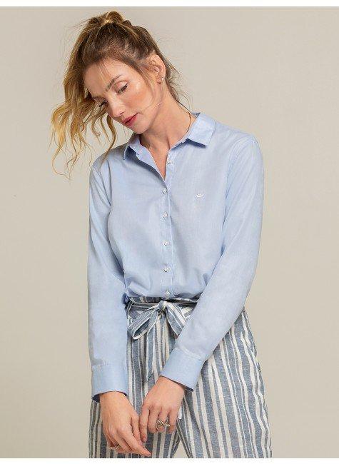 camisa social azul leticia frente