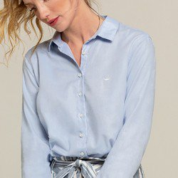 camisa social azul leticia aviamentos