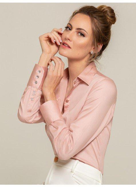 camisa social rose amber frente