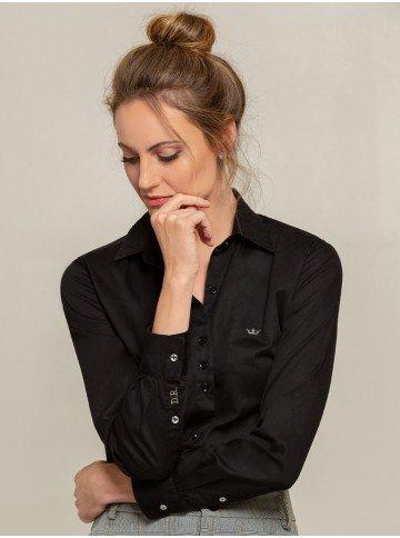 camisa social preta charlie frente
