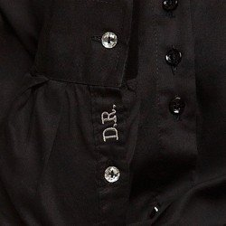 camisa social preta charlie obordado