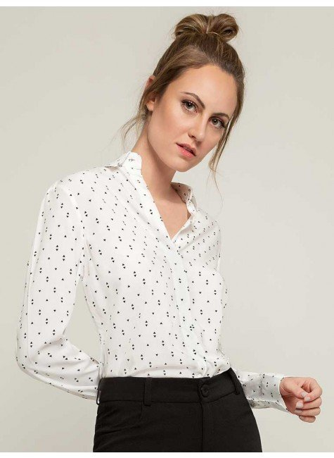 camisa social off white estampada cibele frente