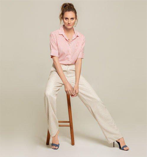 Camisa manga curta com calça Pantalona