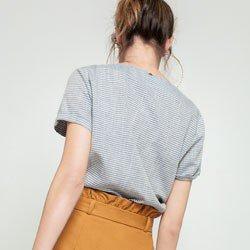 blusa listrada decote redondo madson modelagem