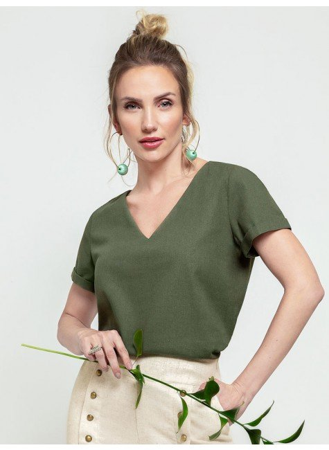 blusa verde militar ayla frente