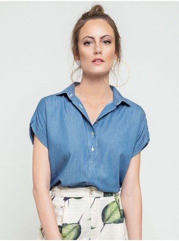 blusa azul estonada lidiane frente