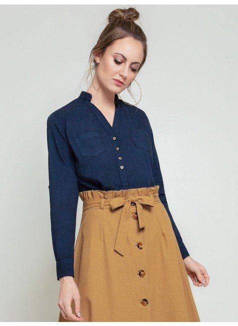 blusa azul marinho april frente