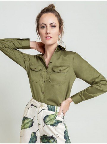 camisa dragona verde militar cassia frente
