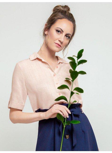 camisa rose manga curta coralina frente