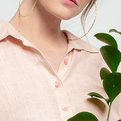 camisa rose manga curta coralina botoes